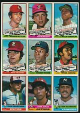 1976 Topps Baseball UNCUT SHEET 9-Cards -WILLIE RANDOLPH RC, FERGIE JENKINS