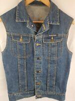FABERGE Vintage Blue Denim Cotton Trucker Jeans Vest Womans Size 10