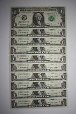10 Consecutive Serial # US $1 DOLLAR BILLS Uncirculated in 10-Pocket PORTFOLIO