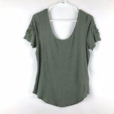 MUDD Juniors Blouse Size XL Green Short Sleeve Ribbed Top
