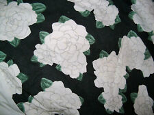 EILEEN WEST ART DECO BLACK GARDENIA 100% COTTON QUEEN BEDSKIRT & PILLOWCASE MINT