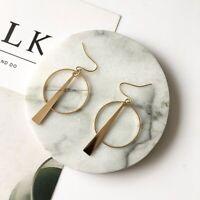 Korean Circle Bar Dangling Earrings Geometric Drop Earring Women Girls Jewelry