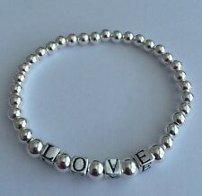 Sterling Silver Beaded Stretch Bracelet With Letter Beads. Name Word Bracelet