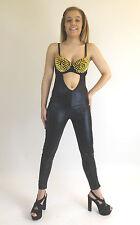 Ladies Sexy Metallic Jumpsuit Spiked Bra Club wear Catsuit Wet Look Black Gold