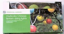 Essential Garden Multicolor Outdoor Chinese Lantern String Lights 8.5 Feet