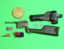 DRAGON 1:6 ACTION FIGURE C96 BOLO MAUSER BROOMHANDLE PISTOL GUN MODEL C96_2_BK