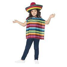 Niña Niño Multicolor Vestido Mexicano Conjunto De Disfraz poncho Sombrero LIBRO