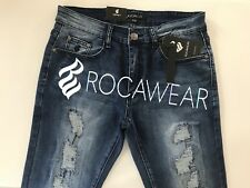 Rocawear Slim Skinny Flex Fit Distressed Ice Wash Blue Jeans Sz.34 Hip Hop Style