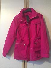 M&s Ladies Fuchsia Pink Jacquard Anorak Jacket With Stormwear Size 12