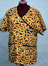 Nurse Vet Tech Dental Scrub V-Neck Top Halloween Yellow Corn Candy