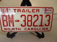 NORTH CAROLINA N C TRAILER LICENSE PLATE BM-38213  ESTATE FIND