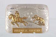 """Renalde Solid Nickel Fram 1957 """"Eugene K. Stevens"""" Rodeo Cowboy Belt Buckle 8366"""