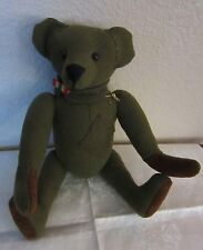 "Handmade Teddy Bear from Vtg Wool Us Army Shirt,Button Eyes 13"",M,Livingston"