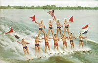 Cypress Gardens Florida Pyramid Ski Show Vintage Postcard