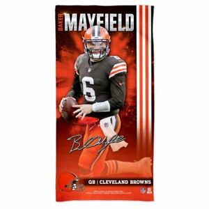 "BAKER MAYFIELD CLEVELAND BROWNS SPECTRA BEACH TOWEL 30""X60"" COTTON PLUSH NFL"