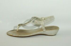 Women's Silver Fabric KASHISH Ankle Strap Flip Flop Casual Sandals Size 5 / 38