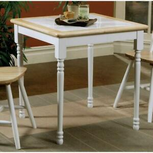 Coaster Square Tile Top Dining Table Natural Brown And White 4191