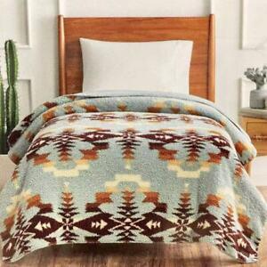 "NWT pendleton sherpa twin Size Soft Fleece blanket  92"" x 66"" (233cm x 167cm)"