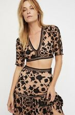 NWT Free People For Love & Lemon black nude Embroidered Crop Top Skirt Set XS