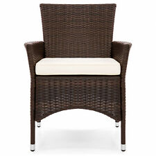 2 Pcs Set Brown Outdoor Wicker Patio Garden Cushioned Dining Chairs Furniture
