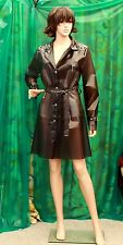 Ladys c/through PU Anthracite black gothic fashion raincoat with studding