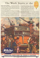 VTG 1944 White Motor BUS STOP Sign SHIPYARDS WWII Factory War Worker Painting Ad
