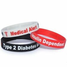 TYPE 2 DIABETES Silicone Wristband x1 Insulin Alert ID Bracelet birthday gift