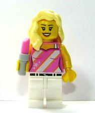 LEGO Female Girl Minifigure Pink White Stripy Top Blonde Wavy Hair Lipstick