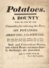 POTATOES. A BOUNTY Irish Potato Famine Public Notice, circa 1850, vintage poster