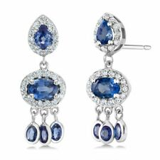 14k White Gold PEAR Blue Sapphire & Diamond Dangle Post Earrings