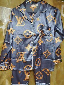 Womens Silk Satin Pajama Set Button Down Sleepwear Loungewear  Purple/Orange-M