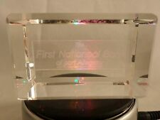 Gus Khrustalny Russian Lead Crystal Cube 3D Paperweight First Nationoal 321CR