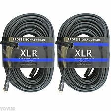 2 PACK 3pin XLR 16 ga gauge male to female mic microphone cable cord 75 ft foot