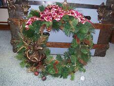 "22"" Bronze Deer Reindeer Burgundy Gold Pine Cone Winter Christmas Wreath"