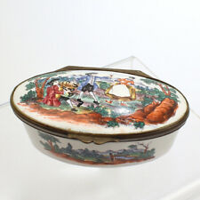 Antique Oval 18th / 19th Century White Battersea Bilston Enamel Snuff Box - VR
