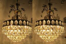 A Pair Antique Vintage GIGANTIC Crystal Chandelier Ceiling Lamp 1940's 17in Dmt