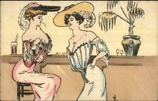 Buxom Large Breasted Women at Bar c1910 French Postcard