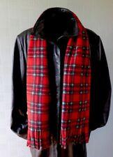rouge et blanc carreaux écharpe avec Tassled hem Femmes tissé noir