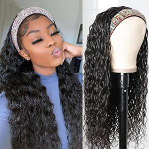 UNice Hair Water Wave Headband Wig Human Hair Glueless Wig None Lace Front Wig
