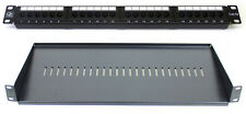 "Cat 5E 24 Port Patch Panel + 200MM Rack Mount Shelf 1U 19"" Network Comms Cabinet"