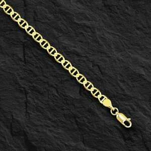 "10kt Solid Yellow Gold Anchor Mariner Link Chain/necklace  3.2 mm 20""  4 grams"