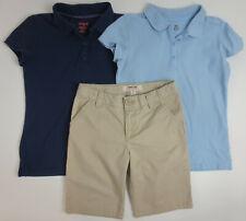Lot School Uniform Girls Sz 10 10/12 Shirts Shorts Khaki Cat Jack Cherokee READ