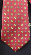 Brooks Brothers Vtg Silk Neck Tie - Red Blue Yellow Foulard Printed in England