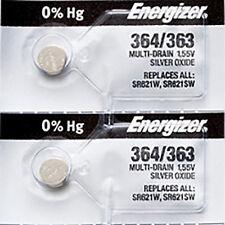 2 x Energizer 364 Watch Batteries, 0% MERCURY equivilate SR621SW