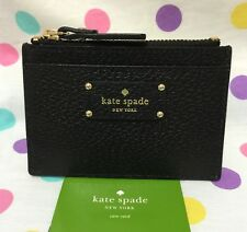 NEW Kate Spade Adi Grove Street  Leather Card/Coin Zip Mini Wallet Black $59