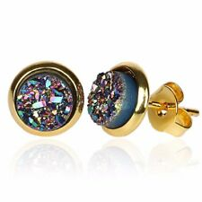 Natural Round Druzy Stud Earrings Sapphire Navy Blue Peacock Stone Rock Gold