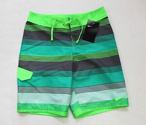Nike Boys' Youth Striped Swim Trunks Boardshort Size L Green Gray