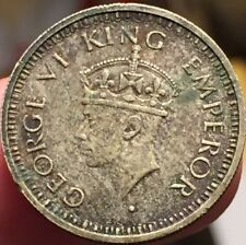 British India 1945 1/4 Rupee Bombay Mint Silver Coin - Circulated - See Pics