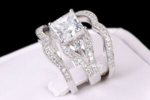 Sterling Silver White Gold Princess Cut Engagement Ring Wedding Band Set Women's