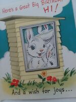 1952 Vtg Fold Out Pop Up BUNNIES Lace Peek Window R Davis BIRTHDAY GREETING CARD